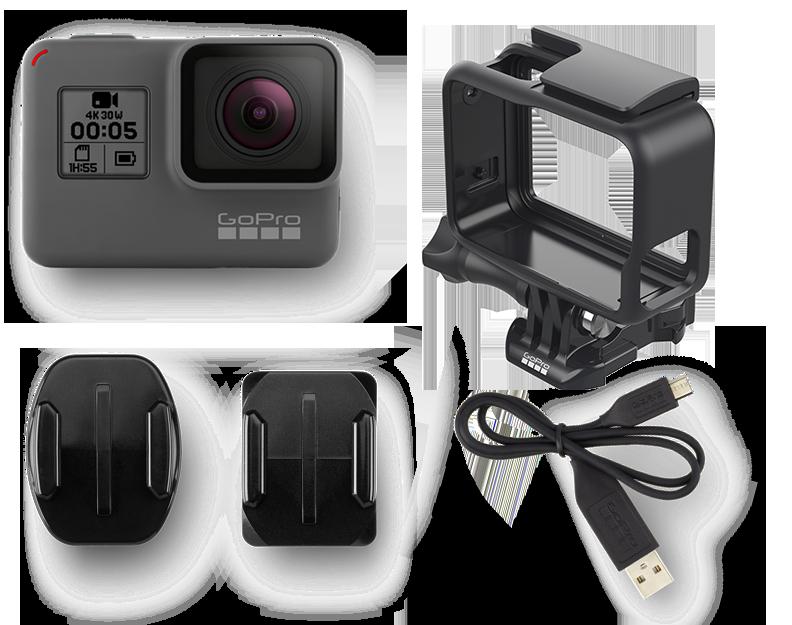 Accesorios incluidos en la caja de compra de la GoPro Hero5 Black