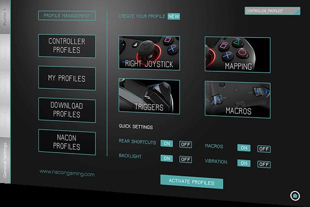 Nacon Revolution Pro, interfaz de configuración